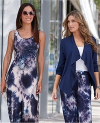 left model wearing a blue and white tie-dye maxi dress and sunglasses. right model wearing a blue cardigan, white tank top, and blue and white tie-dye palazzo pants.