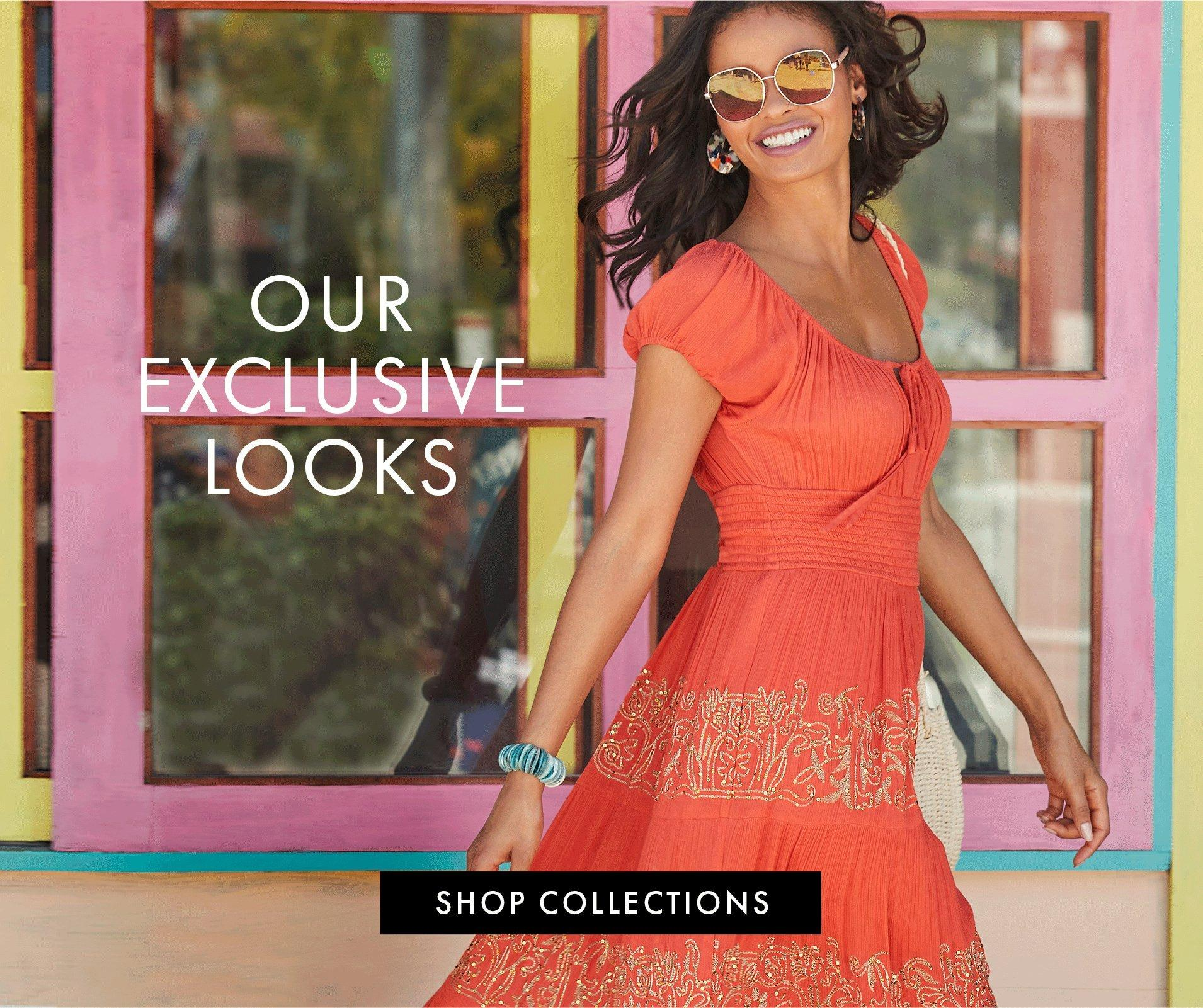 model wearing an orange short sleeve maxi dress with gold embroidery, sunglasses, and multicolored earrings.