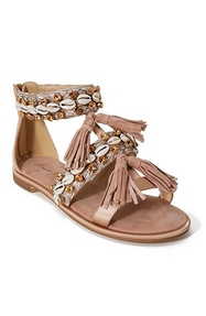 shell embellished blush sandals with tassels.