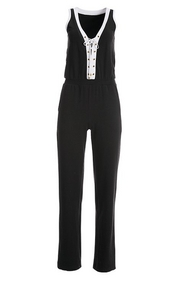 black and white sleeveless sport jumpsuit with a lace-up design