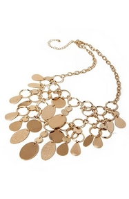 gold necklace with layered circles.