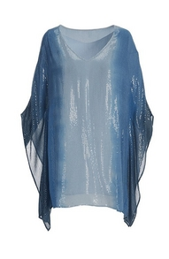 blue ombre sequin poncho.