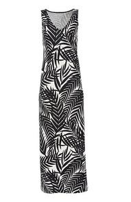 black and white palm print sleeveless maxi dress.