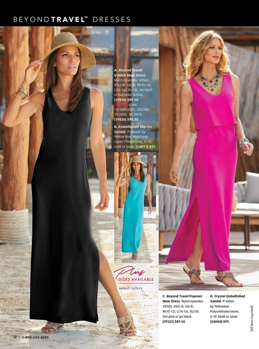 left model wearing a black sleeveless maxi dress, a straw hat, and crystal embellished sandals. middle model wearing same dress in blue. right model wearing a pink popover maxi dress, multicolor crystal embellished sandals, and a turquoise stone necklace.