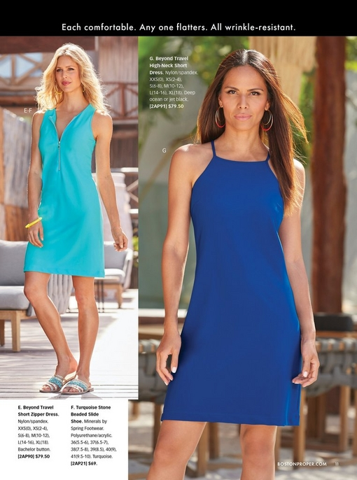 left model wearing a zippered blue sleeveless dress and turquoise beaded slide. right model wearing a deep blue high-neck short dress.
