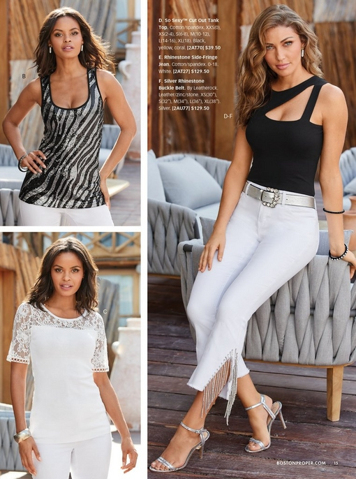 top left model wearing a sequin zebra print tank top and white pants. bottom left model wearing a white short sleeve lace detail sweater and white pants. right model wearing a black cutout tank top, silver rhinestone belt, white fringe detail jeans, and silver heels.