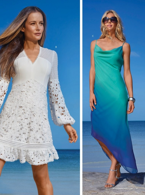 left model wearing a white lace flare-sleeve v-neck dress. right model wearing a blue and green asymmetrical slip dress and sunglasses.
