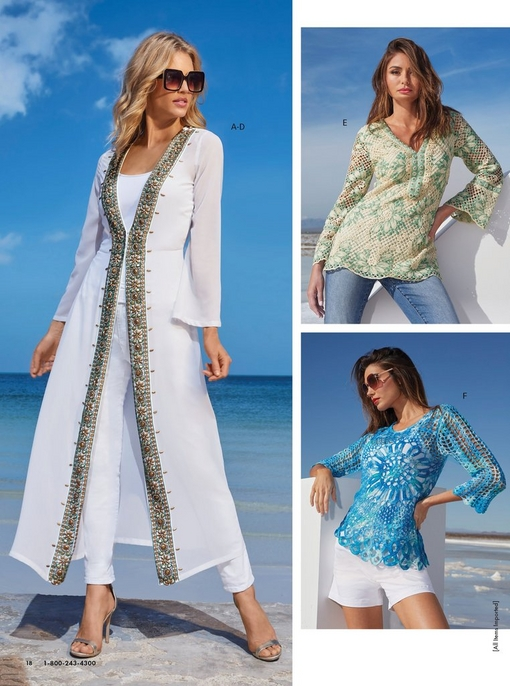 left model wearing a white beaded duster, white tank top, white pants, sunglasses, and silver heels. top right model wearing a white and teal crochet long-sleeve top and jeans. bottom right model wearing a blue crochet sweater, white tank top, white shorts, and sunglasses.