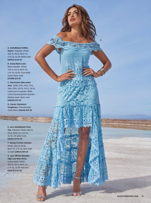 model wearing a blue lace off-the-shoulder high-low maxi dress and silver heels.