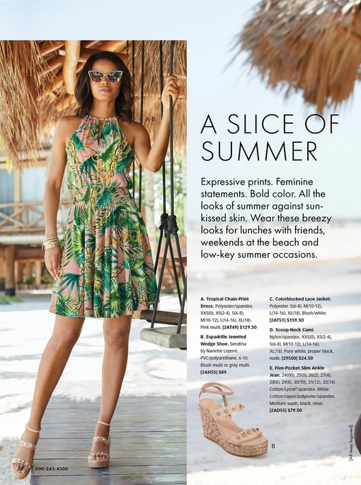 model wearing a high-neck tropical print dress in pink and green, jeweled espadrille wedges, and cat eye sunglasses.