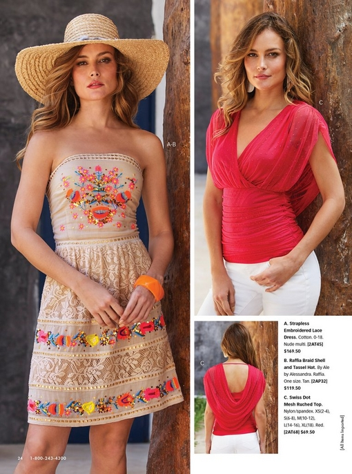 left model wearing a strapless tan dress with multicolored embroidered flowers and a raffia hat. right model wearing a red mesh ruched top and white pants.
