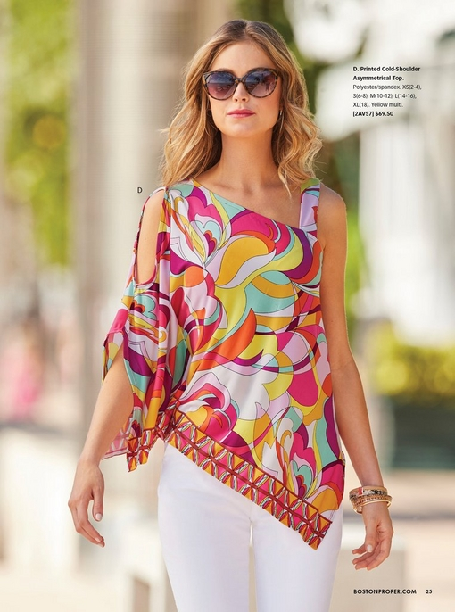 model wearing a cold-shoulder paisley print asymmetrical top, white pants, and sunglasses.