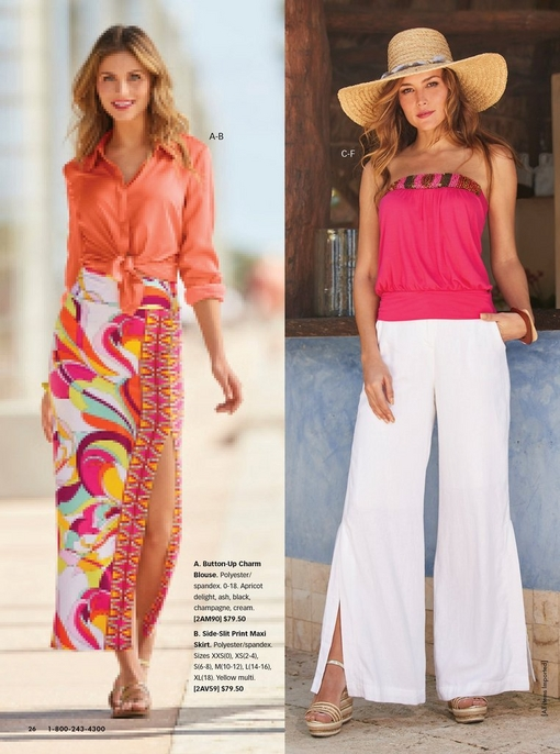 left model wearing an apricot charm button-up top that is tied at the front, paisley print maxi skirt with a side slit, and gold strappy sandals. Right model wearing a large straw hat, strapless pink beaded blouson top, white side slit linen pants, and gold wedges.