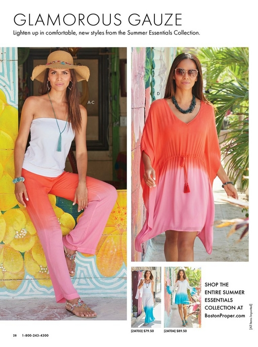 left model wearing a white blouson tube top, a raffia hat, orange and pink dip-dye pant, and multicolored crystal sandals. right model wearing an orange and pink dip dyed v-neck tunic dress.
