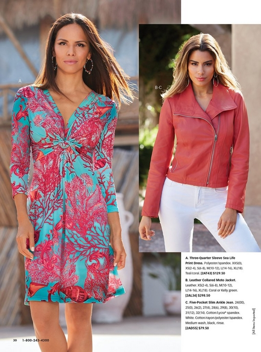 left model wearing a blue and pink coral print three-quarter sleeve dress. right model wearing a coral leather moto jacket and white jeans.