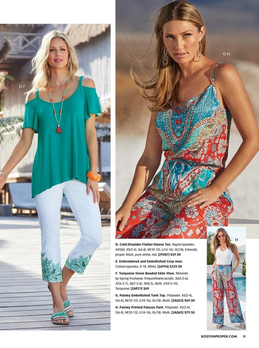 left model wearing a cold-shoulder flutter-sleeve top in teal, white crop embroidered jeans, turquoise stone embellished slide sandals. right model wearing a paisley print tank top, paisley print pants, and gold square earrings. bottom right model wearing a white tank top and paisley print pants.