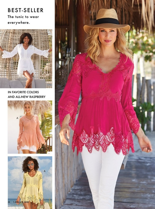 four models wearing a lace tunic top in white, light pink, yellow, and deep pink.
