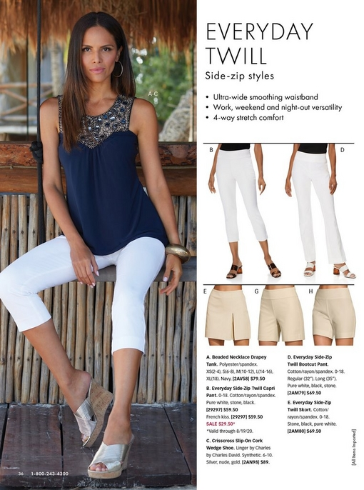 left model wearing a navy beaded necklace drapey tank top, white crop pants, and silver crisscross wedges. right panel shows white crop pants, white bootleg pants, tan skort, and tan shorts.