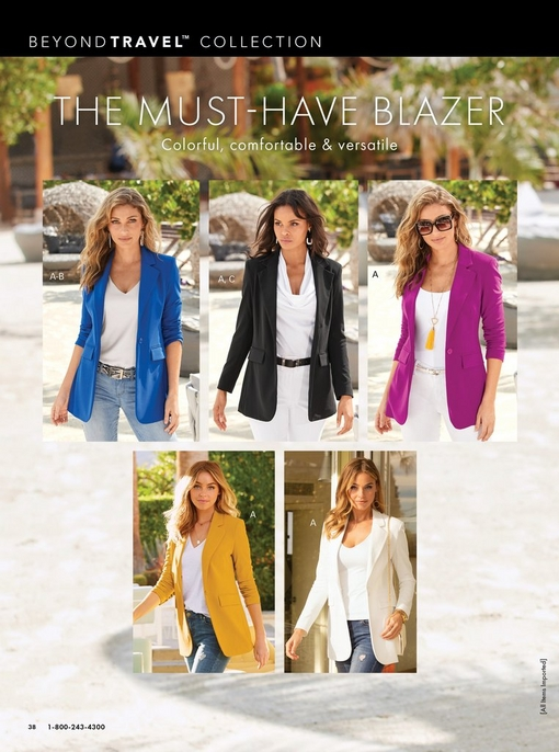 five models wearing different colors of the boyfriend blazer: blue, black, purple, yellow, and white.