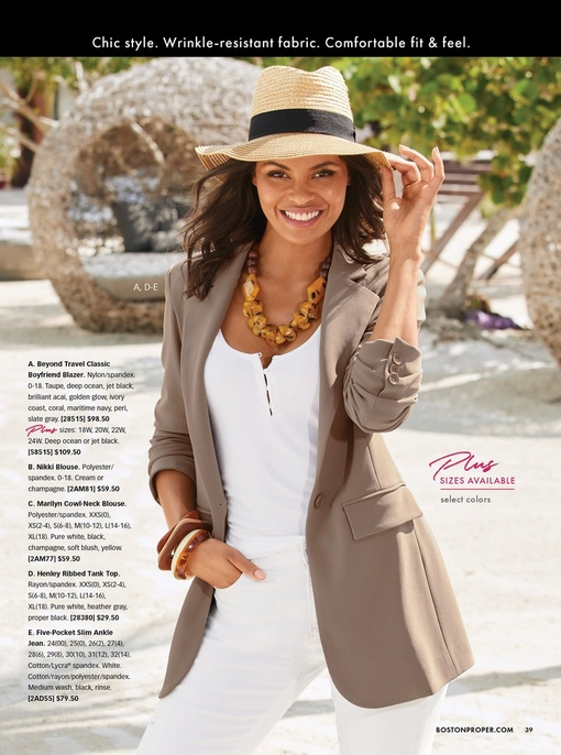 model wearing a taupe blazer, white henley tank top, white jeans, raffia hat, and chunky stone necklace.