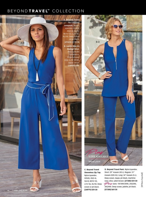 left model wearing a blue cropped jumpsuit with a tie waist, white floppy hat, and white wedges. right model wearing a blue sleeveless zip top, blue pants, cat eye sunglasses, and white wedges.
