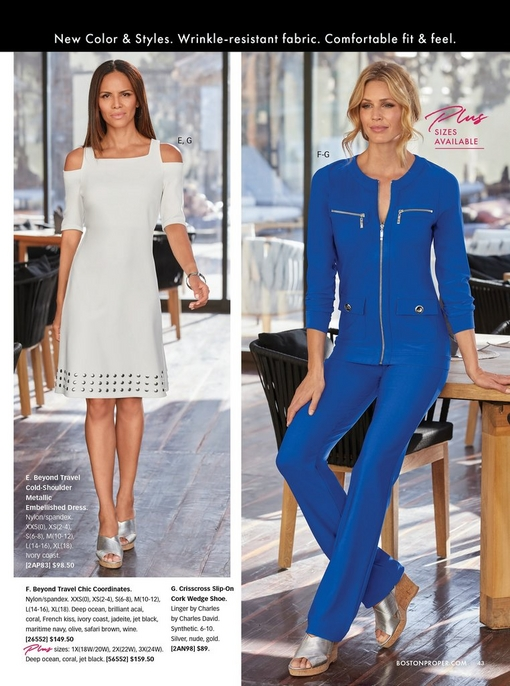 left model wearing a white cold-shoulder metallic embellished dress and silver crisscross wedges. right model wearing a navy two--piece set with silver crisscross wedges.