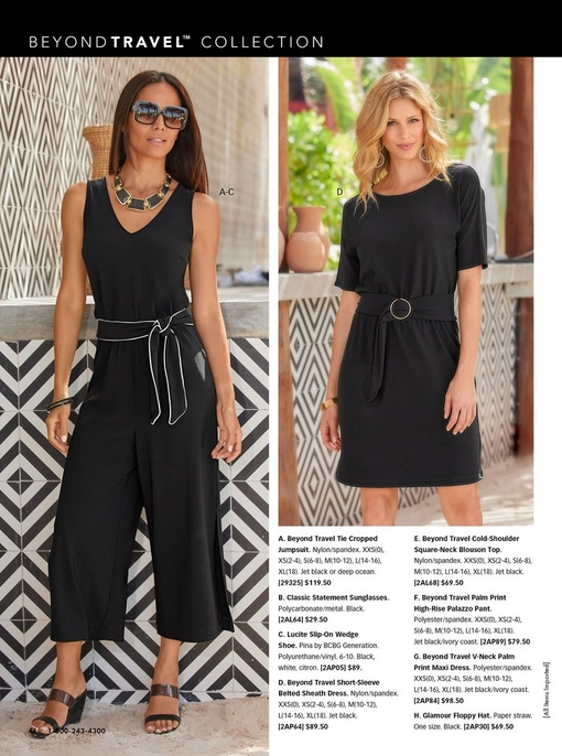left model wearing a black crop jumpsuit with a tie waist, black wedges, black necklace, and square sunglasses. right model wearing a black short-sleeve tie-waist dress.