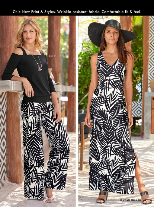 left model wearing a black cold-shoulder long sleeve top, black and white leaf print palazzo pants, and white wedges. right model wearing a black and white leaf print dress, black wedges, and large black floppy hat.