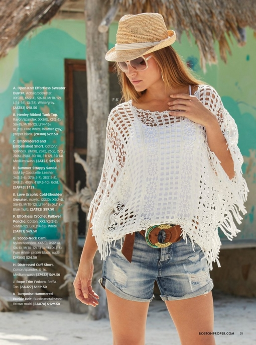 model wearing a white crochet pullover poncho, white tank top, distressed denim shorts, rope trim fedora, turquoise and gold belt.