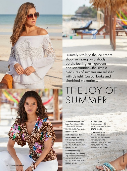 top left model wearing a white lace off-the-shoulder flare-sleeve top and white pants with sunglasses. bottom left model wearing a leopard and floral print short sleeve ruched top with flutter sleeves and white pants.