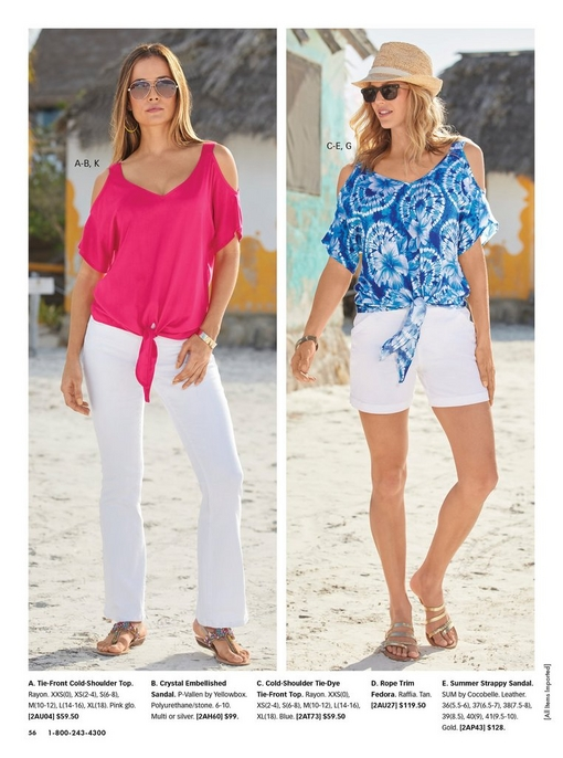 left model wearing a pink told-shoulder short sleeve tie-front top, white pants, multicolored jewel sandals, and sunglasses. right model wearing a blue die-dye cold-shoulder tie-front top, white shorts, sunglasses, straw hat, and gold strappy sandals.