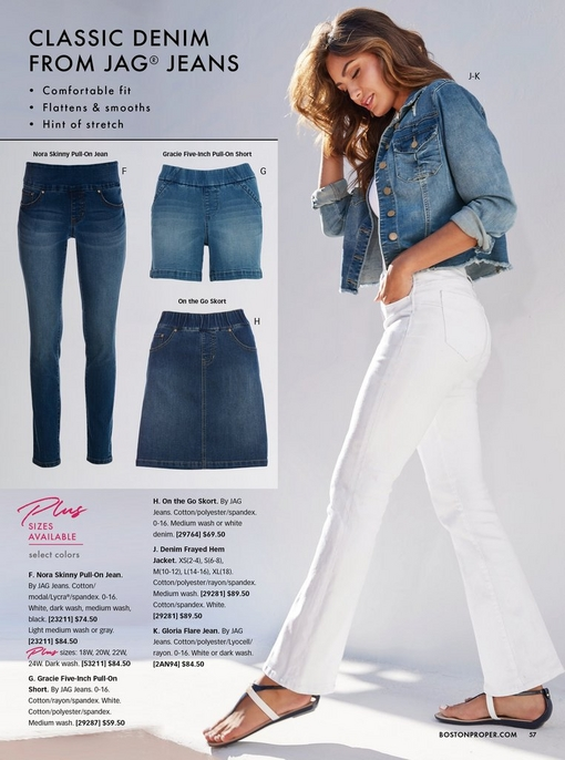 left panel shows pull-on jeans, pull on short, and pull on skort. right model wearing white flare jeans, white tank top, and denim jacket.