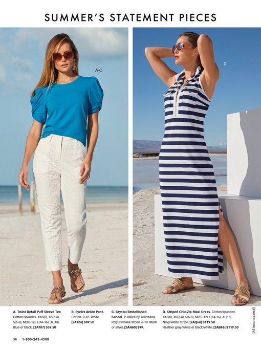 left model wearing a blue puff-sleeve short sleeve top, white eyelet ankle pant, sunglasses, and crystal embellished sandals. right model wearing a navy and white striped maxi dress, gold sandals, and sunglasses.