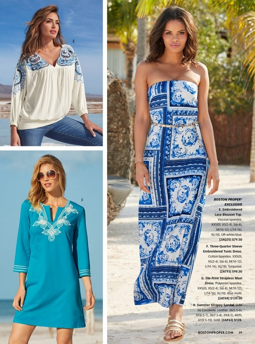 top left model wearing a white and blue lace blouson top and jeans. bottom left model wearing a blue embroidered tunic dress and sunglasses. right model wearing a blue and white tile print strapless maxi dress.