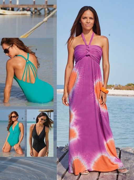 left model wearing a teal one-piece swimsuit with a strappy back. same suit shown in black. right model wearing a purple and orange sequin embellished halter neck maxi dress.