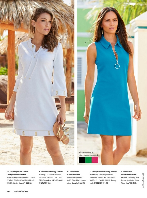 left model wearing a white three-quarter sleeve terry cloth dress and holding gold strappy sandals. right model wearing a blue sleeveless collared dress.