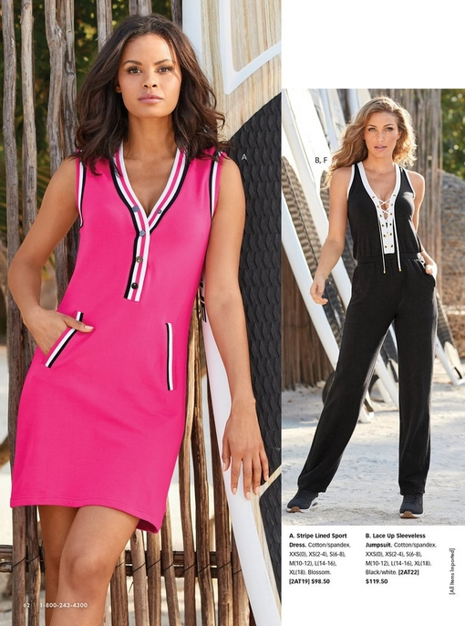 left model wearing a pink sleeveless sport dress with black, white, and pink stripes. right model wearing a black lace up sleeveless jumpsuit and black sneakers.