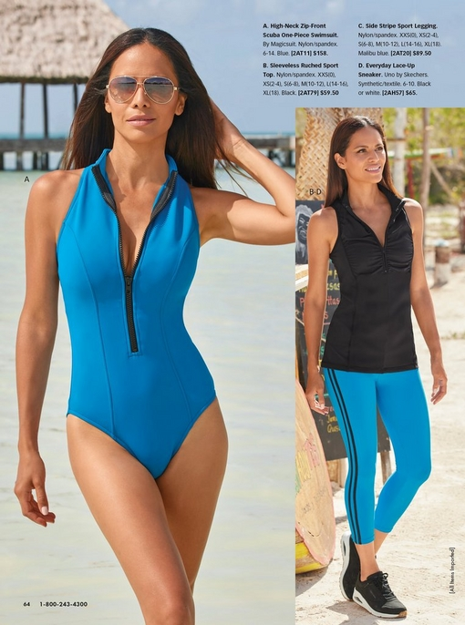 left model wearing a blue zip up one piece scuba swimsuit. right model wearing a black sleeveless ruched sport top and blue leggings with a black sport stripe on each side and black sneakers.