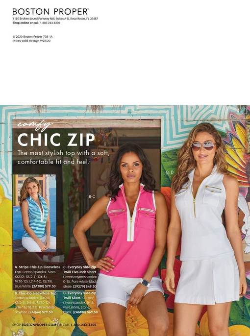 left model wearing a blue and white striped sleeveless zipper top. middle model wearing a pink sleeveless zippered top with white piping and white shorts. right model wearing a white sleeveless zippered top and white skort.