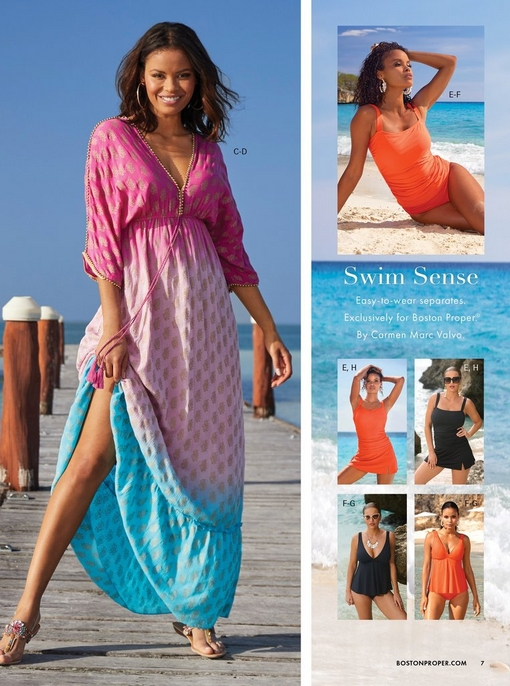 left model wearing pink and blue maxi dress. right models wearing different styles of tankinis in black and orange.