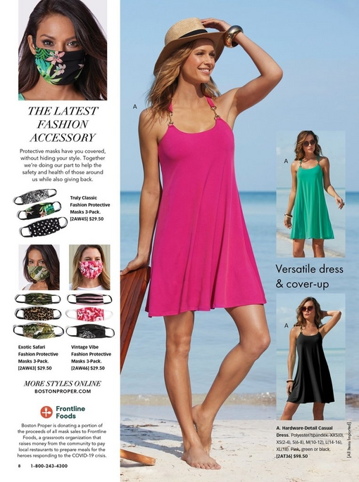 left panel showing different protective face masks. right panel showing models wearing a pink, green, and black sleeveless dress.
