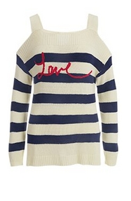 blue and white striped cold-shoulder sweater with red script reading: love.