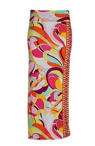 multicolored paisley print maxi skirt.