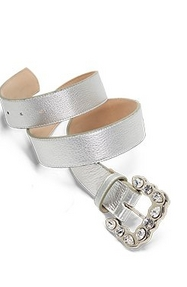 silver jeweled belt.