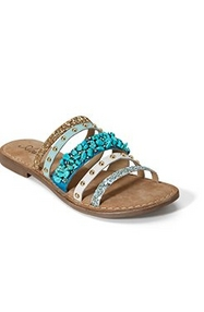 strappy white and turquoise jeweled sandal.