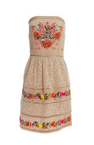 strapless tan dress with floral embroidery.