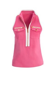 pink and white sleeveless chic zip collared top.