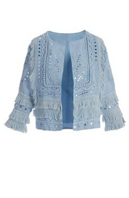 light blue fringe and mirrored jacket.