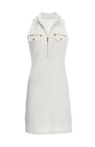 white chic zip sleeveless sport dress.