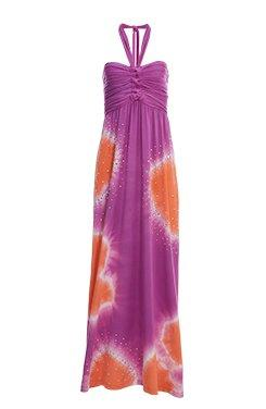 pink and orange tie-dye halter neck top with silver embellishments.
